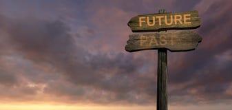 Teckenriktning Framtid-förbi Arkivbilder