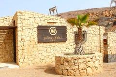TeckenSalinas kopplar av byggnad, Pedra da Lume, Kap Verde, Afrika arkivbild