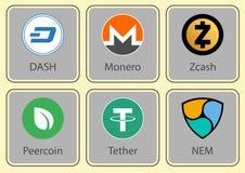 Teckensamling av crypto valuta Arkivbilder