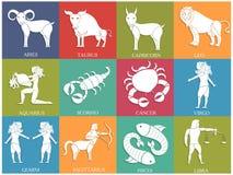 Teckensamling för tolv horoskop eller zodiak Arkivbild