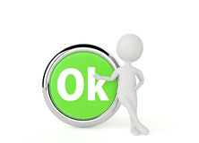 teckenshow för humanoid 3d en ok knapp Fotografering för Bildbyråer