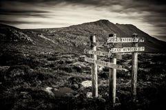 Teckenstolpar på Mt-fältet, Tasmanien, Australien Arkivbilder