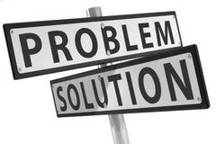 Teckenstolpe med problem och lösningen Arkivbilder