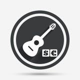 Teckensymbol för akustisk gitarr Betald musiksymbol Arkivbilder