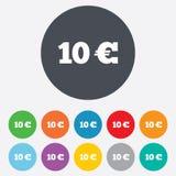 Teckensymbol för euro 10. EUR-valutasymbol. Arkivfoton