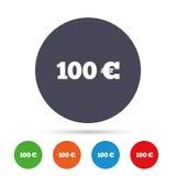 Teckensymbol för euro 100 Runda metalliska knappar Royaltyfri Fotografi