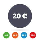 Teckensymbol för euro 20 Runda metalliska knappar Royaltyfria Bilder