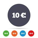 Teckensymbol för euro 10 Runda metalliska knappar Royaltyfri Fotografi