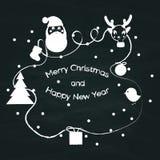 Teckentappning för glad jul skissar stil på den svart tavlan för grunge Royaltyfri Fotografi