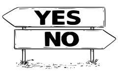 Teckenteckning för två pil av jaet eller inget beslut vektor illustrationer
