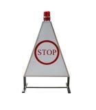 Teckentrafik av stoppet som ska kontrolleras, isolerade på vit bakgrund Royaltyfri Fotografi