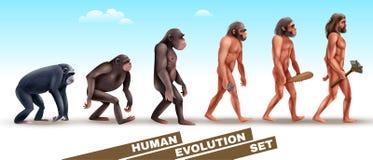 Teckenuppsättning för mänsklig evolution vektor illustrationer