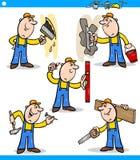 Teckenuppsättning för manuella arbetare eller arbetare royaltyfri illustrationer