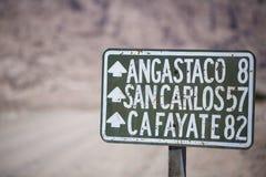 Teckenväg för rutt 40 i nord av Argentina Arkivbild