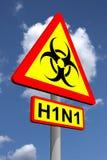 teckenvarning för biohazard h1n1 Royaltyfri Foto