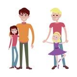 Teckenvektor för fader och för dotter tillsammans Arkivbilder