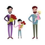 Teckenvektor för fader och för ungar tillsammans Arkivbild