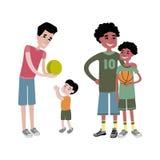 Teckenvektor för fader och för ungar tillsammans Arkivbilder