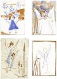 teckna för änglar stock illustrationer
