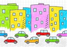 teckna för byggnadsbilar royaltyfri illustrationer