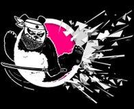 Teckna förbi handen Makten av en panda Karateslag Tecknad film stiliserat tecken illustration royaltyfri illustrationer