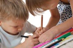 teckna för barn Fotografering för Bildbyråer
