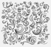 tecknad blom- hand för element vektor illustrationer