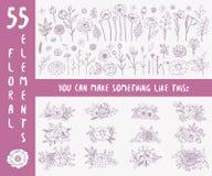 tecknad blom- hand för element stock illustrationer