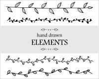 tecknad blom- hand för element Gulliga objekt för ditt brännmärka stock illustrationer