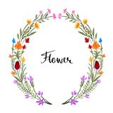 tecknad blom- ramhand Ordnade gulliga retro blommor en form av Royaltyfria Foton