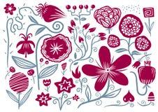 tecknad blommahand royaltyfri illustrationer