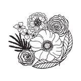 tecknad blommahand Royaltyfri Foto