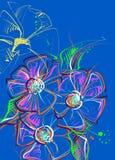 tecknad blommahand också vektor för coreldrawillustration Arkivbilder