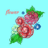 tecknad blommahand också vektor för coreldrawillustration Fotografering för Bildbyråer