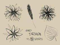 tecknad blommahandset vektor illustrationer