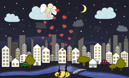 Tecknad filmängeln ger förälskelse från himmel Royaltyfria Bilder