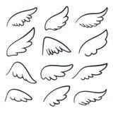 Tecknad filmängelvingar Det bevingade klottret skissar symboler Änglar och isolerade fågelvektorsymboler vektor illustrationer
