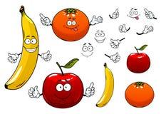 Tecknad filmäpple, apelsin och bananfrukter Royaltyfri Bild