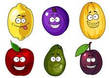 Tecknad filmäpple, plommoner, melon, citron och avokado Royaltyfri Fotografi