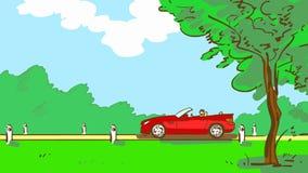 Tecknad filmöppen-överkanten rider den röda bilen längs en lantlig väg med trädet och grönt gräs Sommarlandskap med bilen Royaltyfri Fotografi