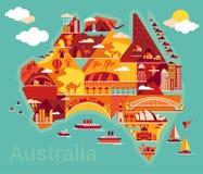 Tecknad filmöversikt av Australien vektor illustrationer