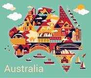 Tecknad filmöversikt av Australien royaltyfri illustrationer