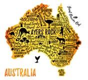 Tecknad filmöversikt av Australien stock illustrationer