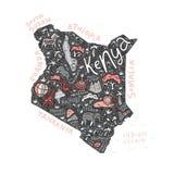 Tecknad filmöversikt av Kenya royaltyfri illustrationer