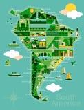 Tecknad filmöversikt av Sydamerika royaltyfri illustrationer