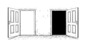 Tecknad film av den öppna trädörren för beslut två royaltyfri illustrationer