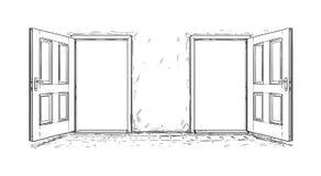 Tecknad film av den öppna trädörren för beslut två vektor illustrationer