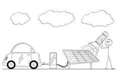 Tecknad film av den laddande elbilen för man vid makt från solenergiväxten under mulet stock illustrationer