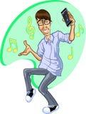 Tecknad film av den lyckliga mannen som dansar till musik på iPhone Royaltyfria Bilder