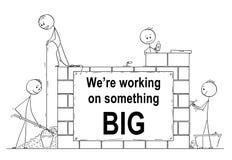 Tecknad film av gruppen av murare eller murare som bygger en vägg eller ett hus Det finns oss arbetar på något det stora tecknet stock illustrationer